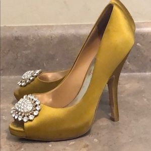 Badgley Mischka Satin Jeweled Brooch Heels